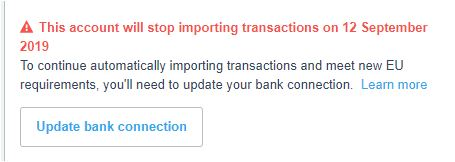 xero open banking notification